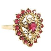 RUBY Filigree Ring  10k Gold  .94 ctw Estate