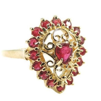 Ruby Filigree Ring 10k Gold  .94 ctw Vintage Estate Jewelry