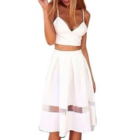 Coromose Women Two Piece Crop Top Midi Skirt Set Summer Holiday Beach Skirt Set