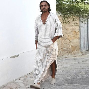 Mens Ethnic Robes Loose Striped Long Sleeve Hooded Vintage Casual Dress Kaftan