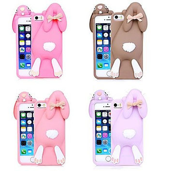 Cartoon 3D Soft Cute Silicone Rabbit Case For For iPhone 6 6G 5 5S 4 4S Lovely Rabito Silicon Phone Cover