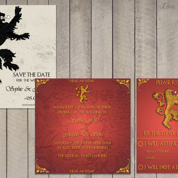 Wedding invitation Set Game of Thrones House Lannister - Save the Date, Invitation, RSVP - Digital file