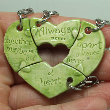 Friendship Heart pendants set of 4 pottery pieces Multi color floral pattern Ready To Ship