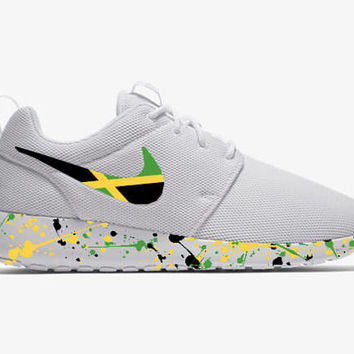 Jamaican Shoes Custom Roshe Run White Men/Women/Youth Sizes-Custom Rasta Shoes Jamaican Flag Nike Roshe Run Custom Roshe Shoes Nike Roshe