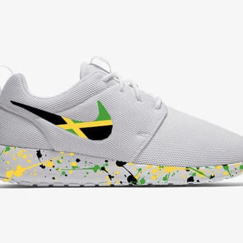 new styles f9dfa aee84 Jamaican Shoes Custom Roshe Run White Men Women Youth Sizes-Cust
