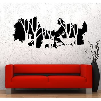 Wall Decal Nature Forest Animals Deer Family Hunting Vinyl Sticker (ed1478)