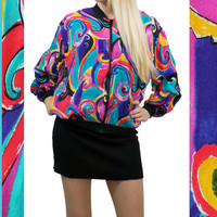 80's Windbreaker, 90s Jogging Jacket, WILD print jacket, 90s vintage, abstract, colorful, womens outerwear, free Shipping
