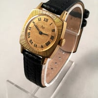 "VINTAGE Soviet Women's watch ""RAY"" (Luch) made in Ussr 70s, Gold Plated , RARE Square Dial , High quality leather band!!"