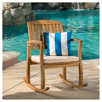 Selma Acacia Rocking Chair with Cushion - Brown - Christopher Knight Home