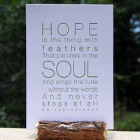 Letterpress Poetry Print - Emily Dickinson - Dark Green