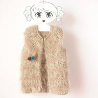 Girl Faux Fur Vest / Hand Knit Sleeveless Jacket with Pom Poms Brooch / Flower Girl Jacket / Beige Alpaca Sweater / 5 - 7 T / Ready To Ship
