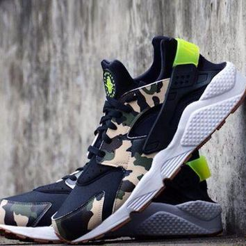 Best Online Sale Nike Air Huarache 1 Run Rainbow Ultra Breathe Men Black Grey Green Camouflage Running Sport Casual Shoes Sneakers - 930