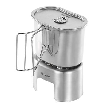 700ml Outdoor Drinking Coffee Tea Cup Pot Portable Camping Travel Tumbler Stainless Steel Durable Drinkware +Mini Wood Stove