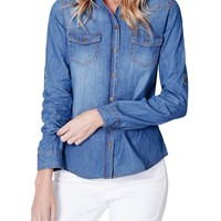 LE3NO Womens Cotton Distressed Button Down Denim Shirt with Pockets