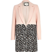 River Island Womens Pink leopard print two-tone coat