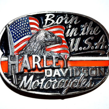 HARLEY DAVIDSON Motorcycles Vintage 1991 Born In The USA Eagle Pewter Enamel Belt Buckle Official Licensed Excellent Condition Baron h404