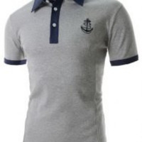 Anchor Pattern Color Block Short Sleeve Polo T-Shirt