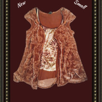 Anthropology  (Gilligan O Malley) velvet design top with cami -  size small