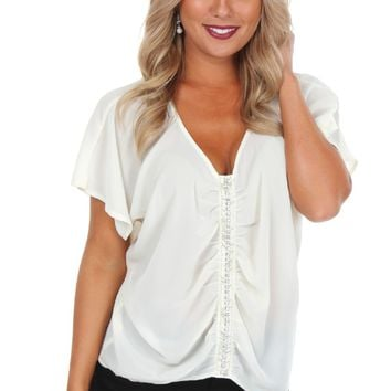 Rhinestone Ruched Blouse