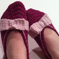 Bow Slippers Adult Slippers, Crochet Pattern PDF 12-055