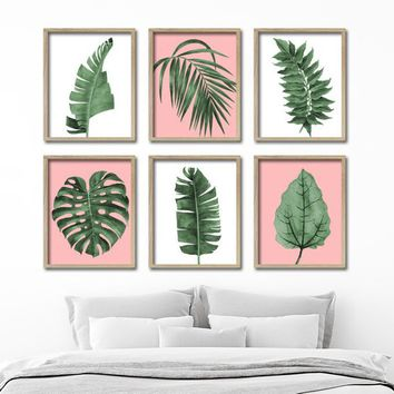 Watercolor Banana Leaf Pink Wall Art, Botanical Banana Leaves Leaf CANVAS or Prints, Watercolor Tropical Bathroom Bedroom Decor, Set of 6