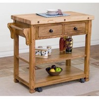 Sunny Designs Sedona Butcher Block Kitchen Island Cart In Rustic Oak