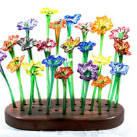 Valentine's Sale!  15% off! Colorful handblown glass flowers