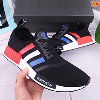Adidas NMD Fashion New Stripe Print Sports Leisure Women Men Running Shoes
