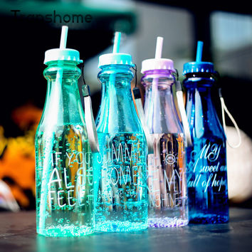650ml Fashion Unbreakable Water Bottle Plastic Portable Sports Cup With Straw My Creative Bottle Botle BPA Free Transhome