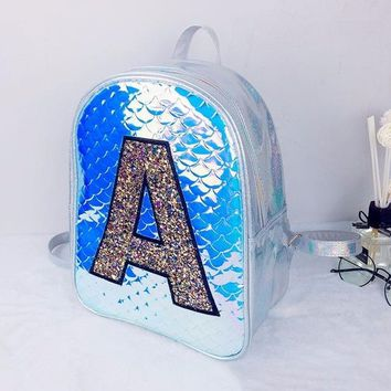 University College Backpack Brand Fashion Hologram Laser  A font Women Leather Holographic Fish scales   Girls School BagAT_63_4