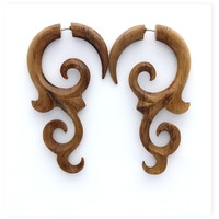 Fake Gauges Koa Wood Earrings tribal style fake piercings hand made faux gauge