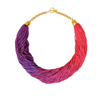 Pink And Purple Necklace, Choker Necklace, Long Tassel Necklace, Ombre Fringe Statement Necklace, Lightweight Necklace