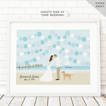 Nautical Guest Book Alternative - Beach Wedding Guestbook - Ocean Wedding Guest Book - Beach Theme Sign in Book - Party Guest book PAPER