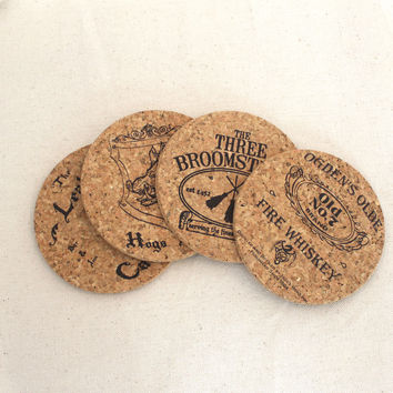 Harry Potter Pub Themed Cork Coaster Set of 4