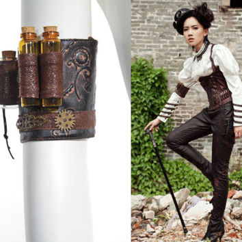 RQ-BL Bracelet brown Steampunk gothic Sleeve Jewelry Glass bottles Accessoire