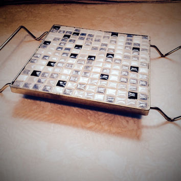 Vintage MCM Mid Century 1960's Black White Grey Mosaic Tiled Trivet With Brass Handles