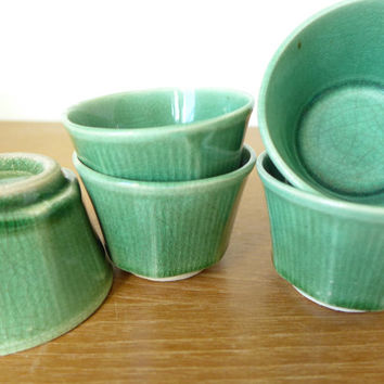 Green glazed Japanese tea cups