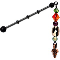Handcrafted Earthy Industrial Barbell Created with Swarovski Crystals