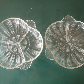 Two 1940s Hazel Atlas 3 Part Relish Dish Tray Bowl/ Set of 2/ Art Deco/ Vintage Serve Ware by Feisty Farmers Wife