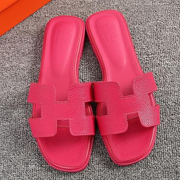 6aab2548c Hermes Women Fashion Leather Slipper Sandals Shoes