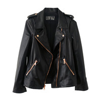 The Moto Jacket- Plain Lambskin w/ Rosegold Hardware