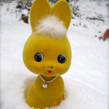Bobble Head Rabbit BANK , yellow bunny with pearl look necklace so cute for easter