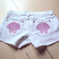 Mermaid Shorts Sea Shell White Jean Shorts with Studs Sexy Denim Short Discharged Ripped Beach Yoga Fitness Running Festival Shorts