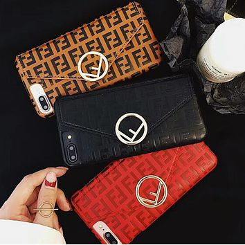 FENDI Classic Fashionable Leather Card Mobile Phone Cover Case For iphone 6 6s 6plus 6s-plus 7 7plus 8 8plus X