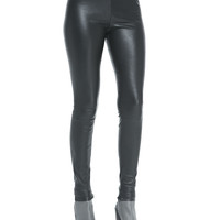 Smooth Leather Leggings, Black, Size: