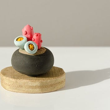 A Miniature Potted Plant on wood base succulent cactus exotic pink orange blue golden turquoise polymer clay home decor clay botany fantasy