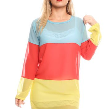 AQUA RED YELLOW SCOOP NECKLINE LONG SLEEVES CASUAL DRESS