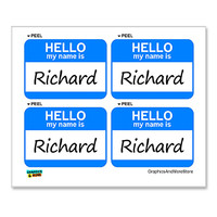 Richard Hello My Name Is - Sheet of 4 Stickers