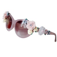 LUCLUC Pink Baroque Sunglasses Dimensional Ceramic Flowers - LUCLUC