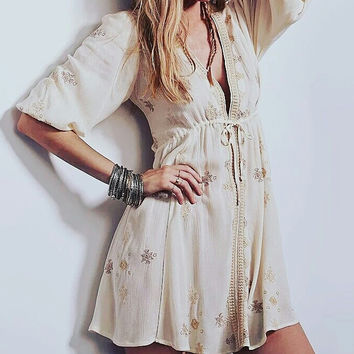 Beige boho short embroidered dress